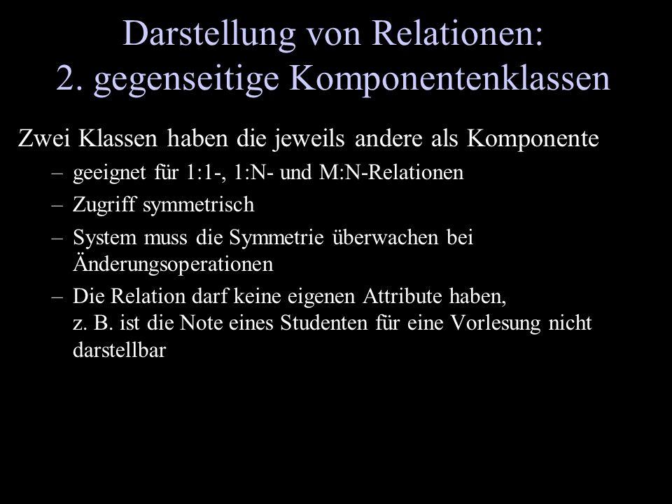 Darstellung von Relationen: 2. gegenseitige Komponentenklassen