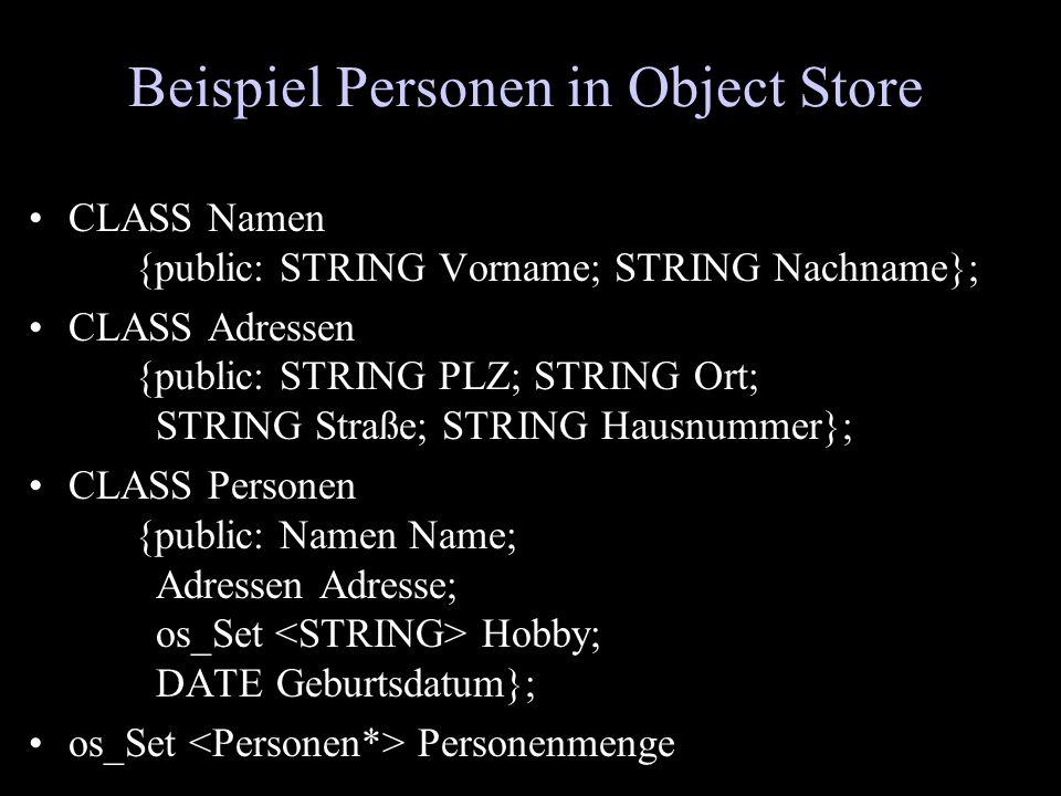 Beispiel Personen in Object Store