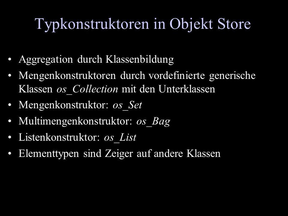 Typkonstruktoren in Objekt Store