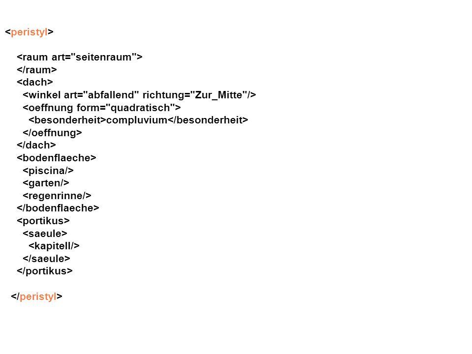 <peristyl> <raum art= seitenraum > </raum> <dach> <winkel art= abfallend richtung= Zur_Mitte />