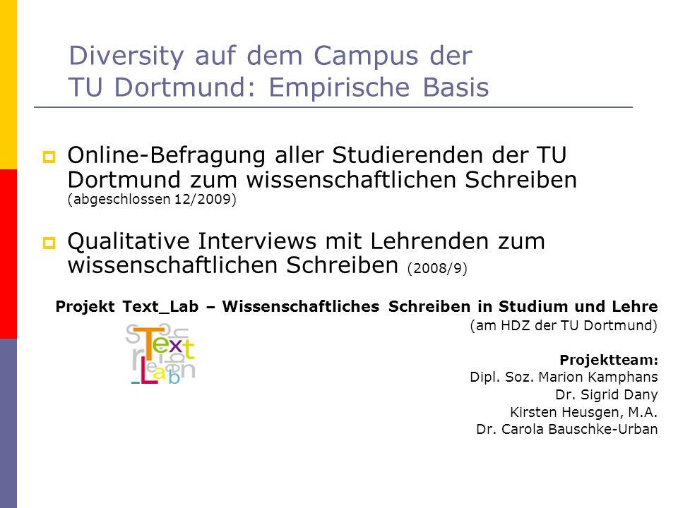 Diversity auf dem Campus der TU Dortmund: Empirische Basis