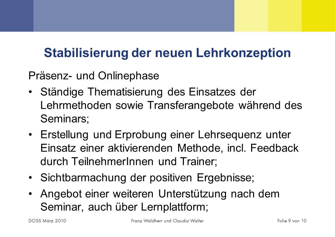 Stabilisierung der neuen Lehrkonzeption