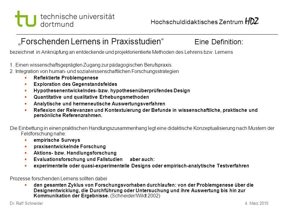 """""""Forschenden Lernens in Praxisstudien Eine Definition:"""