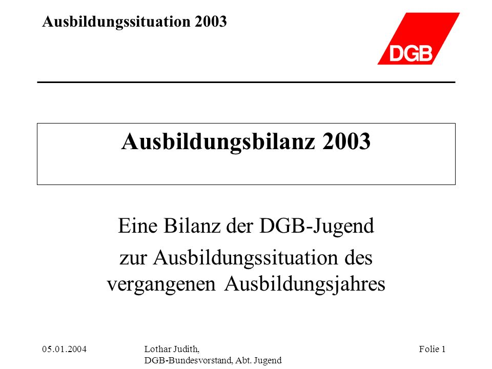 Ausbildungsbilanz 2003 Eine Bilanz der DGB-Jugend