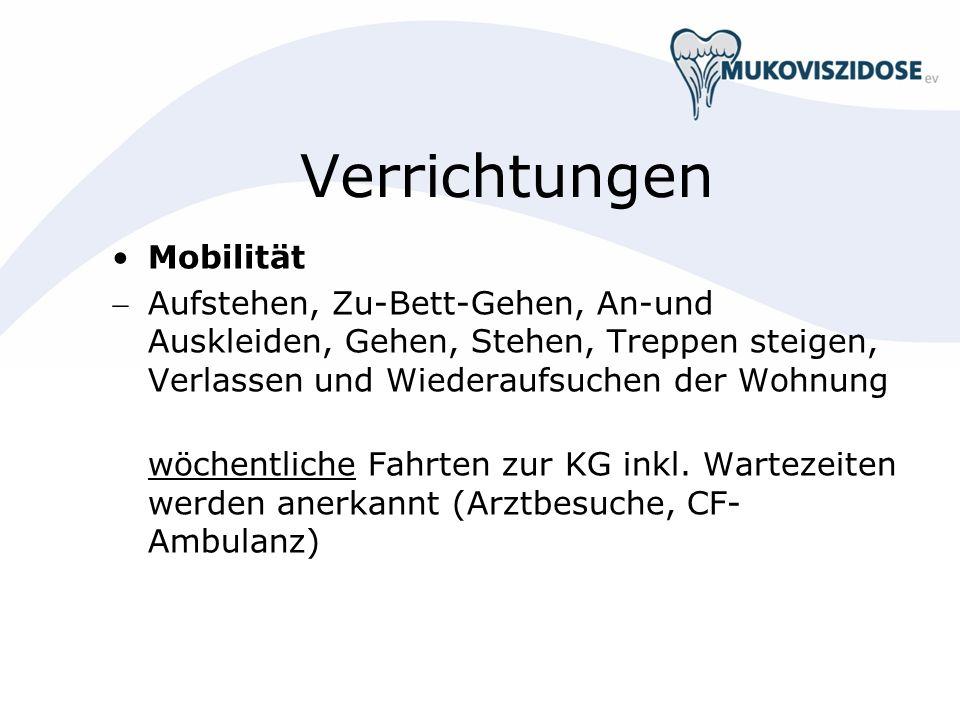 Verrichtungen Mobilität