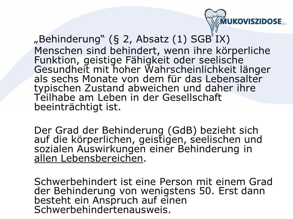 """Behinderung (§ 2, Absatz (1) SGB IX)"