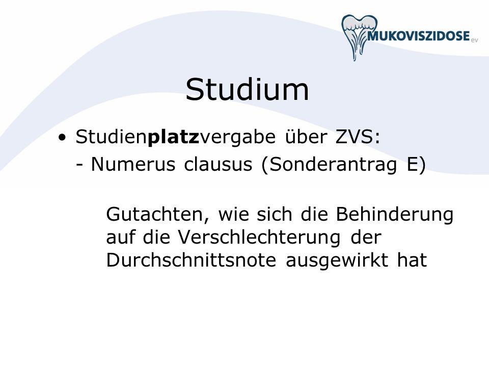 Studium Studienplatzvergabe über ZVS: