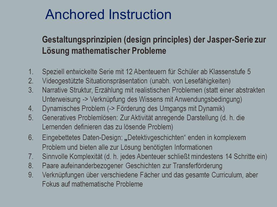 Anchored InstructionGestaltungsprinzipien (design principles) der Jasper-Serie zur Lösung mathematischer Probleme.