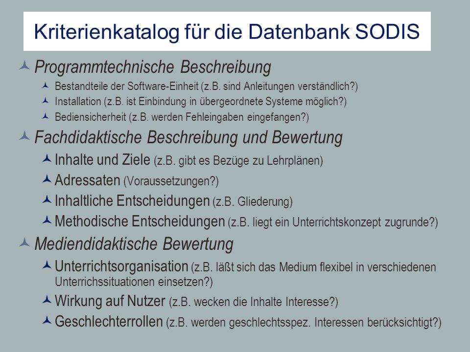 Kriterienkatalog für die Datenbank SODIS