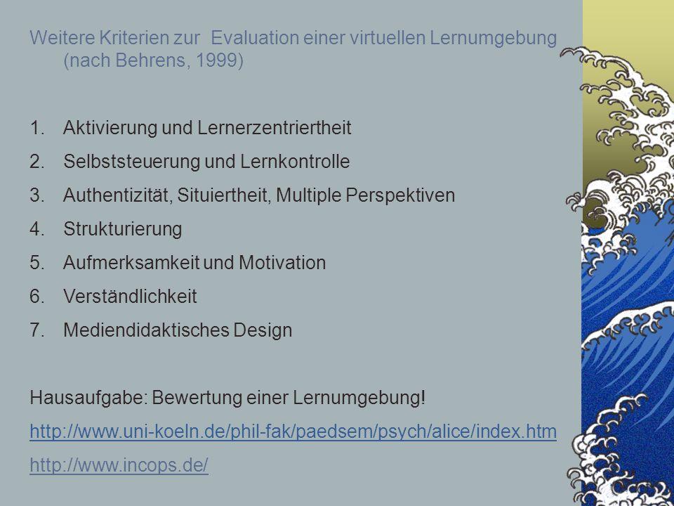 Weitere Kriterien zur Evaluation einer virtuellen Lernumgebung (nach Behrens, 1999)