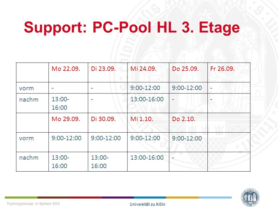 Support: PC-Pool HL 3. Etage