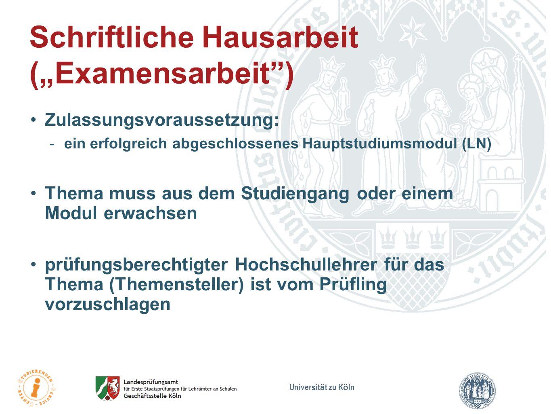 """Schriftliche Hausarbeit (""""Examensarbeit )"""