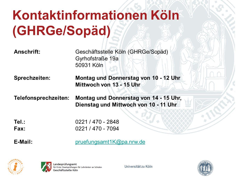 Kontaktinformationen Köln (GHRGe/Sopäd)