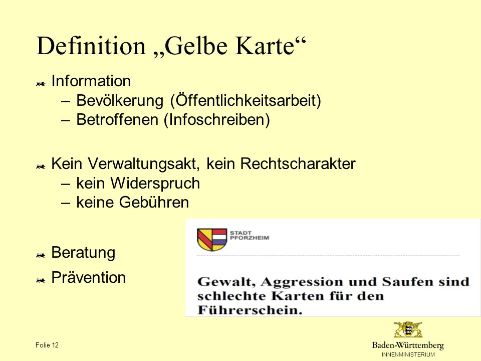 "Definition ""Gelbe Karte"