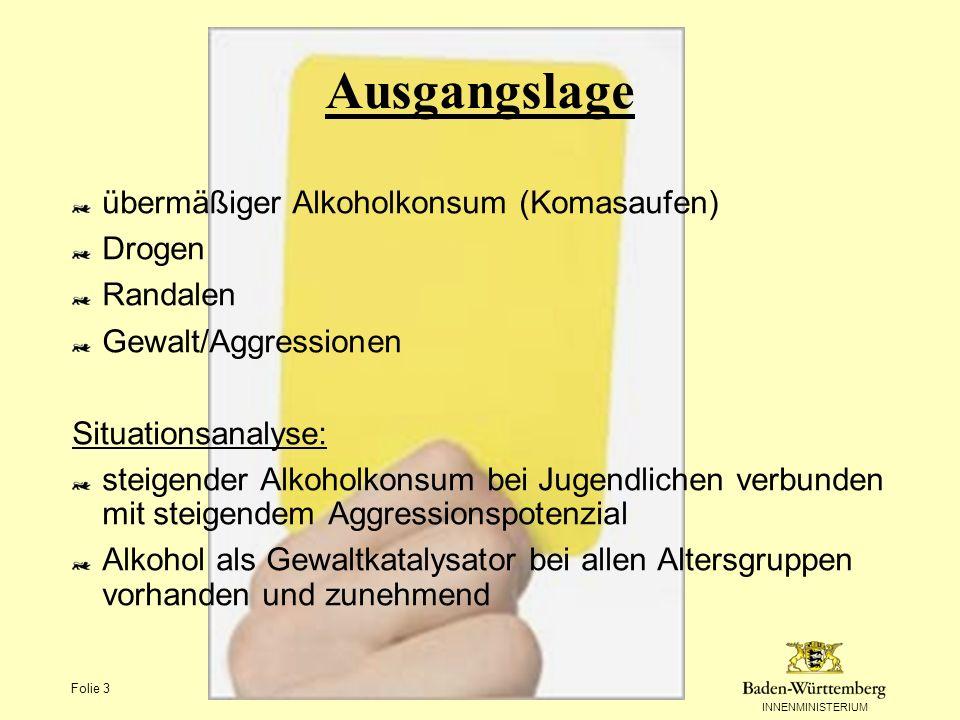 Ausgangslage übermäßiger Alkoholkonsum (Komasaufen) Drogen Randalen