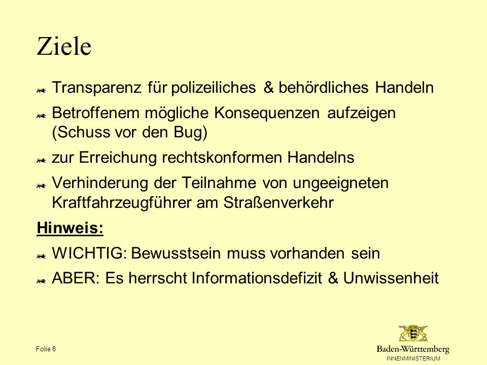 Ziele Transparenz für polizeiliches & behördliches Handeln