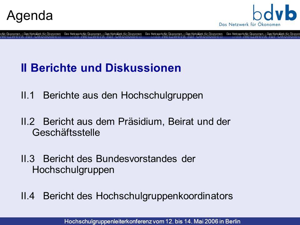 Agenda II Berichte und Diskussionen