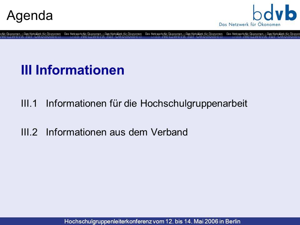 Agenda III Informationen