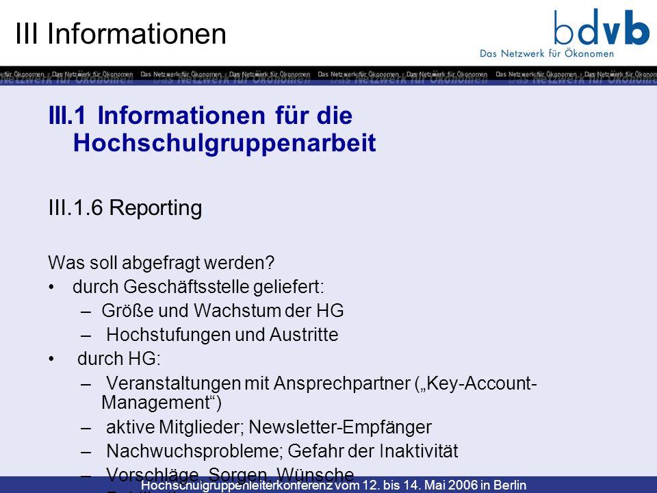 III Informationen III.1 Informationen für die Hochschulgruppenarbeit