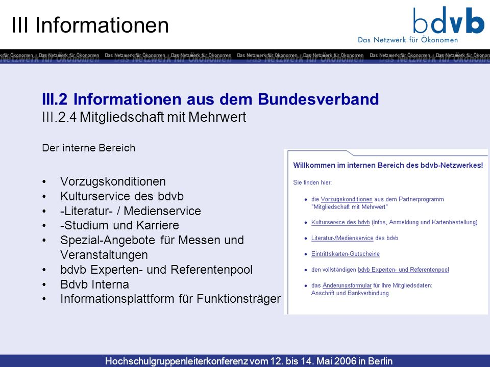 III Informationen III.2 Informationen aus dem Bundesverband