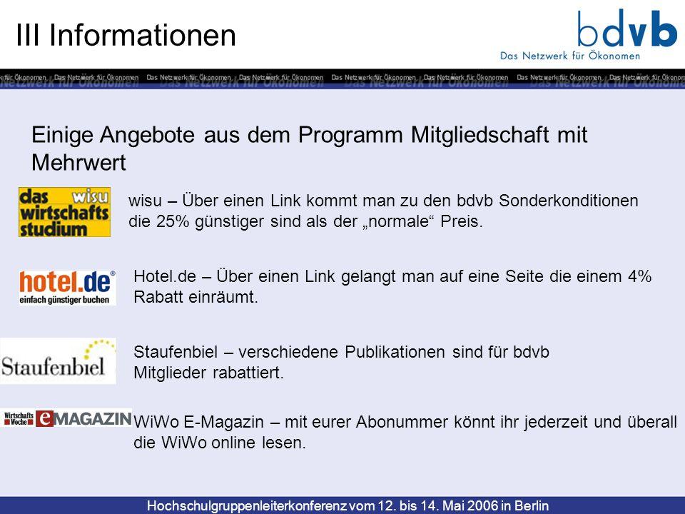 III Informationen Einige Angebote aus dem Programm Mitgliedschaft mit Mehrwert.