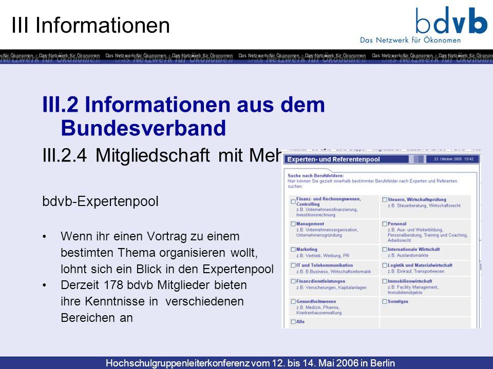 III.2 Informationen aus dem Bundesverband
