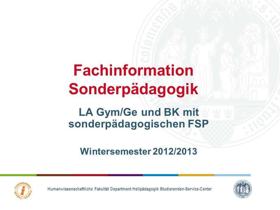 Fachinformation Sonderpädagogik