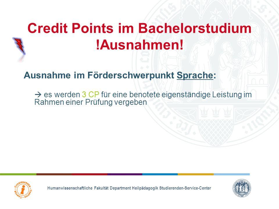 Credit Points im Bachelorstudium !Ausnahmen!