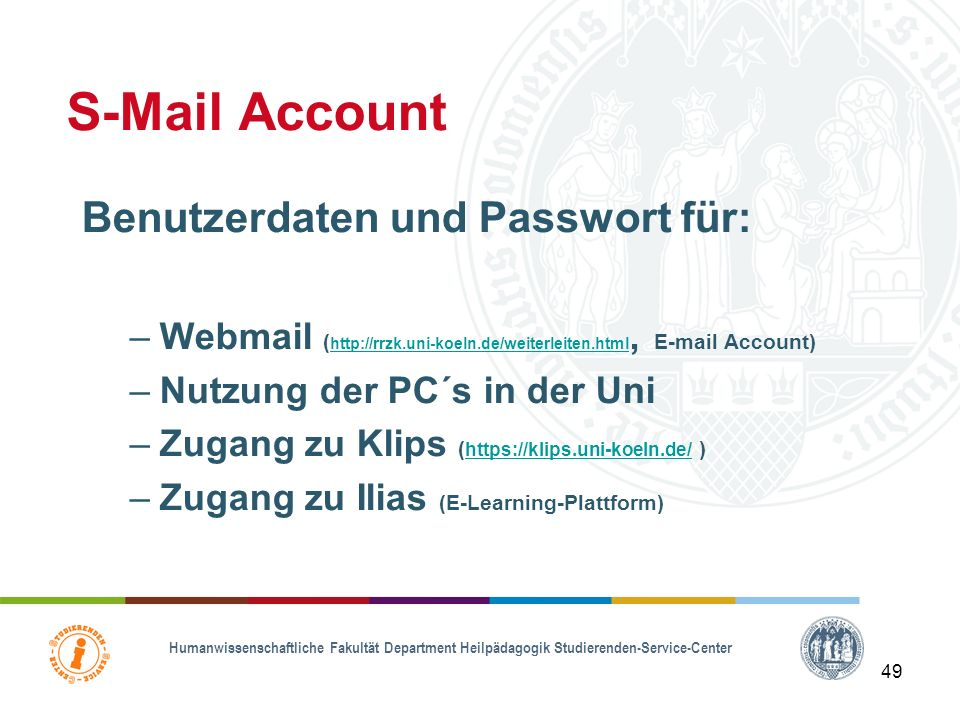 S-Mail Account Benutzerdaten und Passwort für: