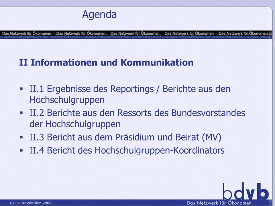 Agenda II Informationen und Kommunikation