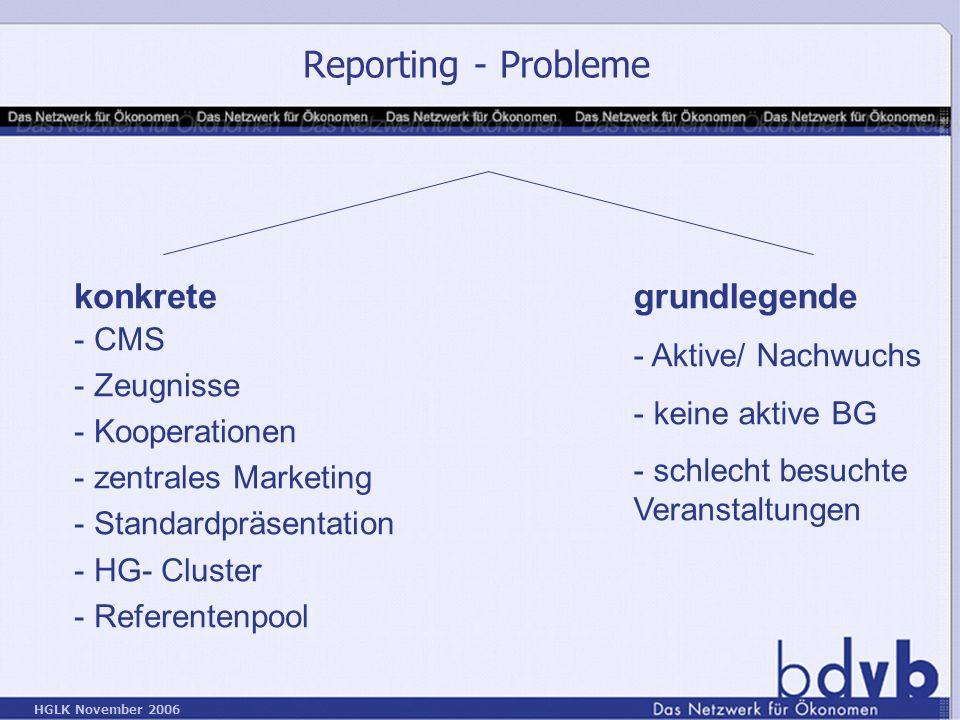 Reporting - Probleme konkrete grundlegende CMS Zeugnisse Kooperationen