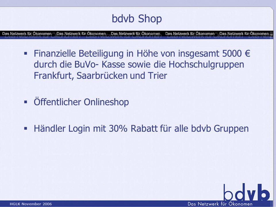bdvb Shop Finanzielle Beteiligung in Höhe von insgesamt 5000 € durch die BuVo- Kasse sowie die Hochschulgruppen Frankfurt, Saarbrücken und Trier.