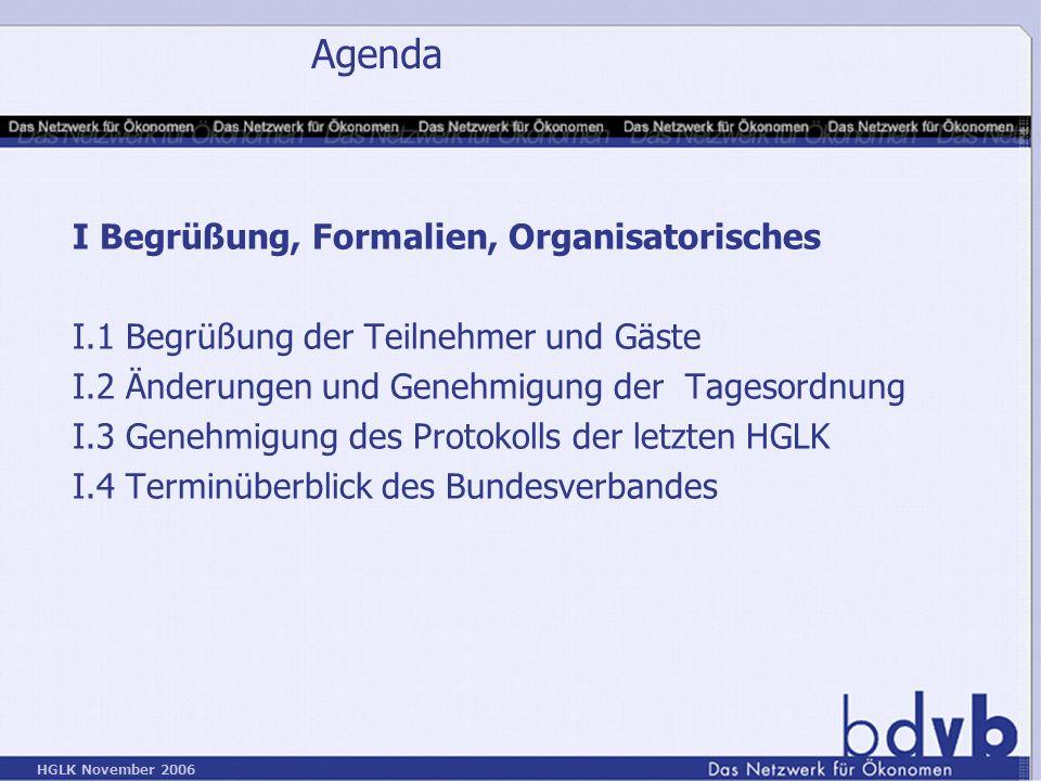 Agenda I Begrüßung, Formalien, Organisatorisches