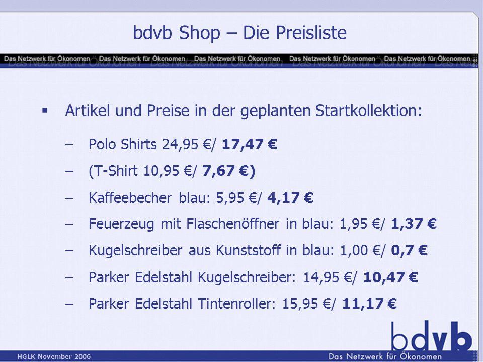 bdvb Shop – Die Preisliste