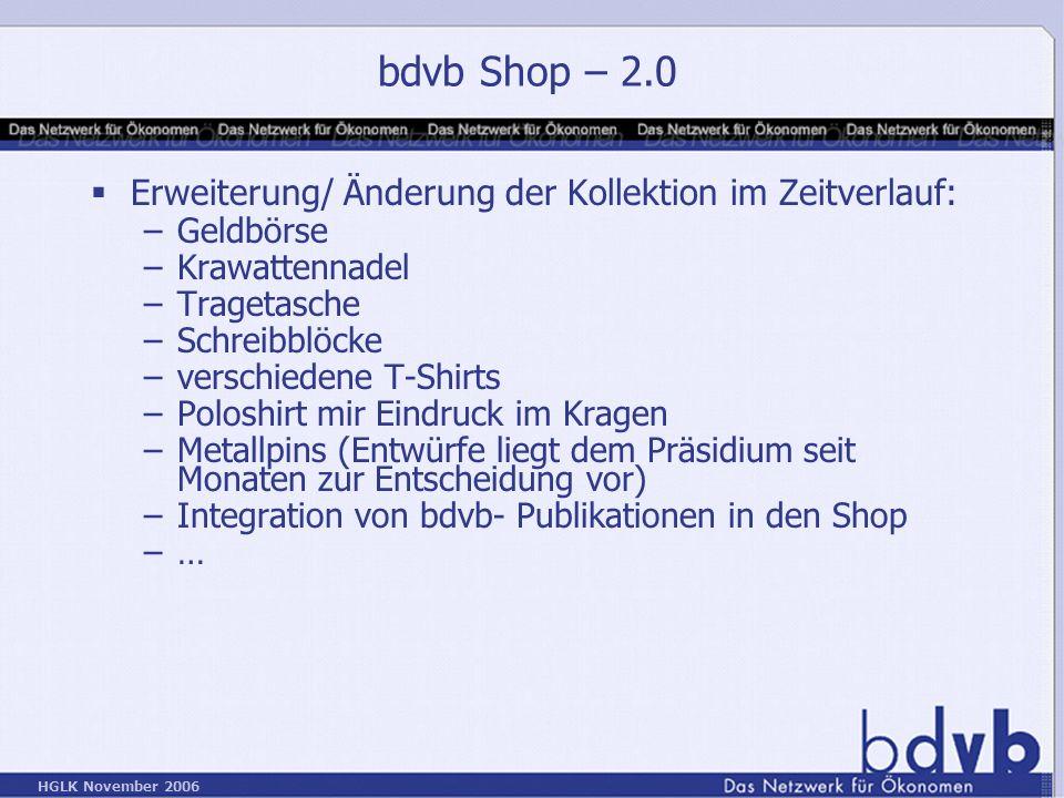 bdvb Shop – 2.0 Erweiterung/ Änderung der Kollektion im Zeitverlauf: