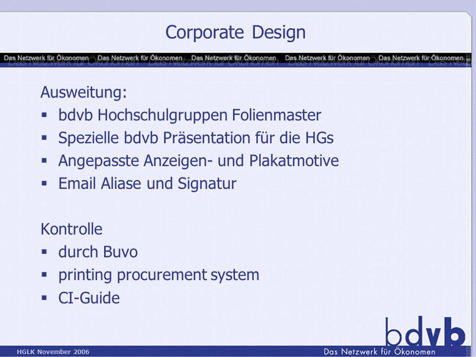 Corporate Design Ausweitung: bdvb Hochschulgruppen Folienmaster