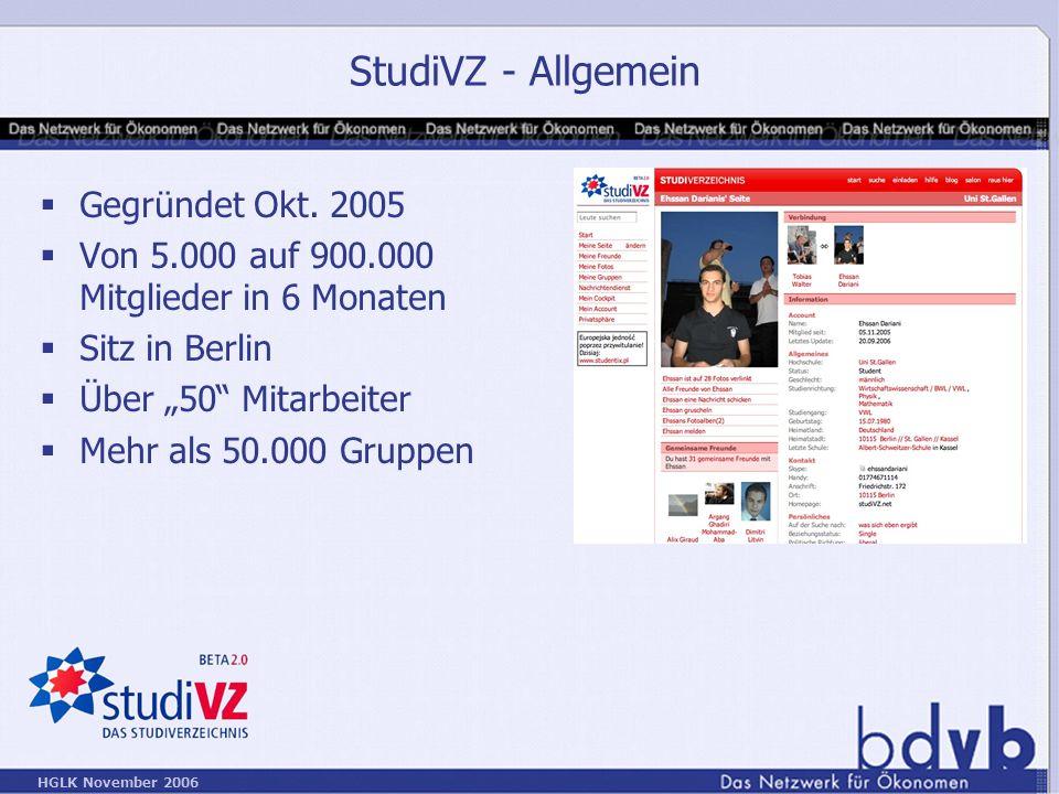 StudiVZ - Allgemein Gegründet Okt. 2005