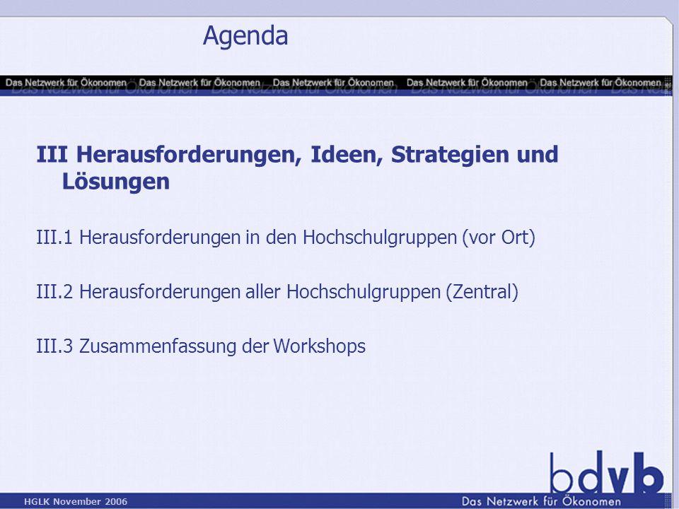 Agenda III Herausforderungen, Ideen, Strategien und Lösungen