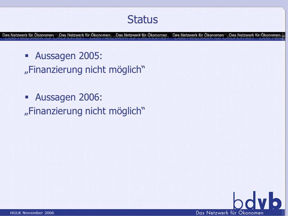 """Status Aussagen 2005: """"Finanzierung nicht möglich Aussagen 2006:"""
