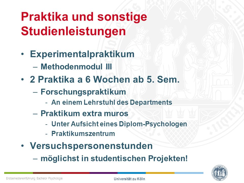 Praktika und sonstige Studienleistungen