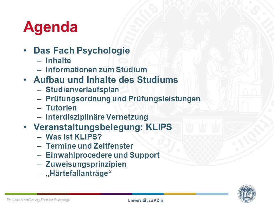 Agenda Das Fach Psychologie Aufbau und Inhalte des Studiums