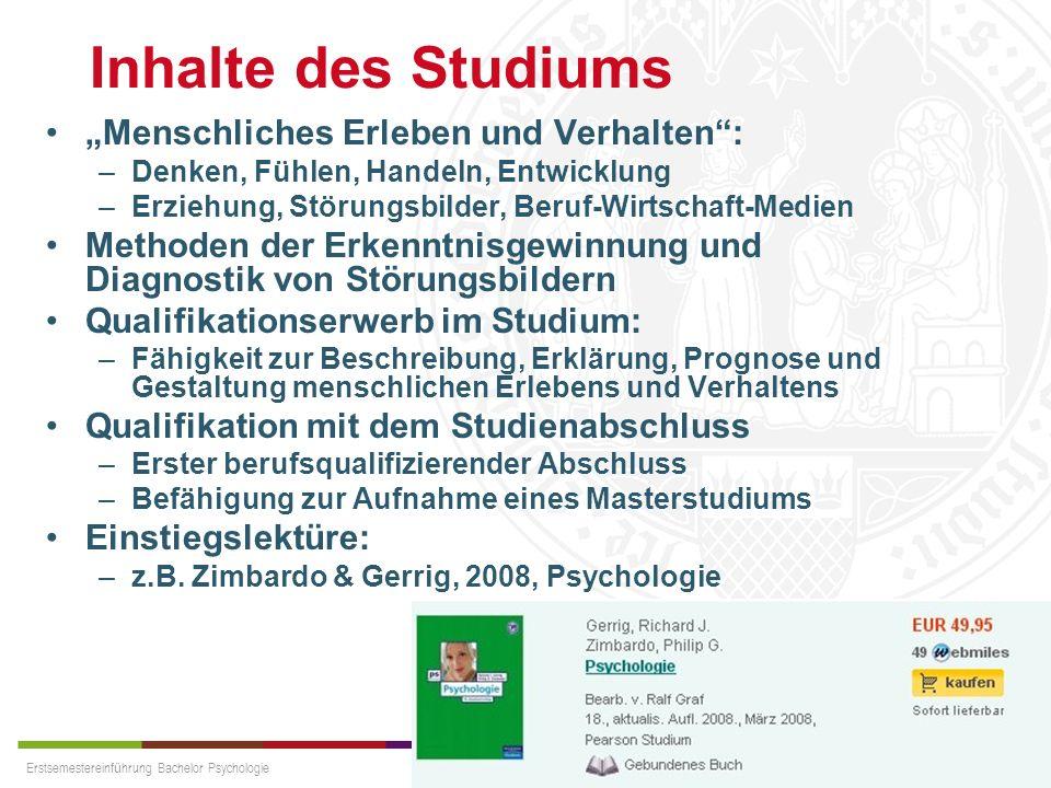 """Inhalte des Studiums """"Menschliches Erleben und Verhalten :"""