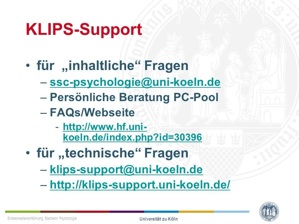 """KLIPS-Support für """"inhaltliche Fragen für """"technische Fragen"""