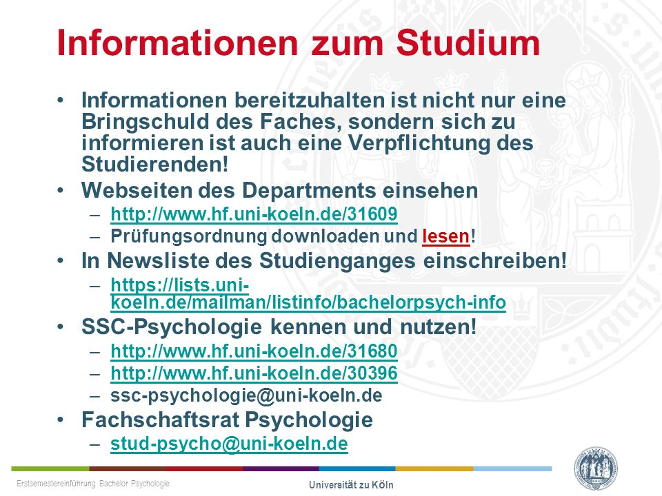 Informationen zum Studium