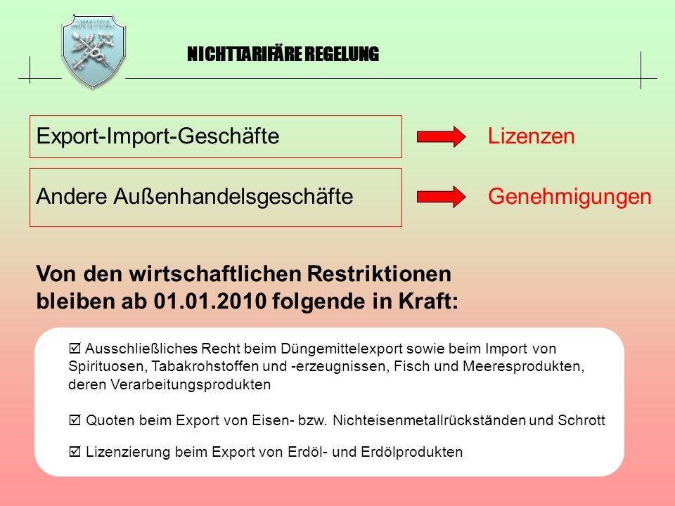 Export-Import-Geschäfte Lizenzen