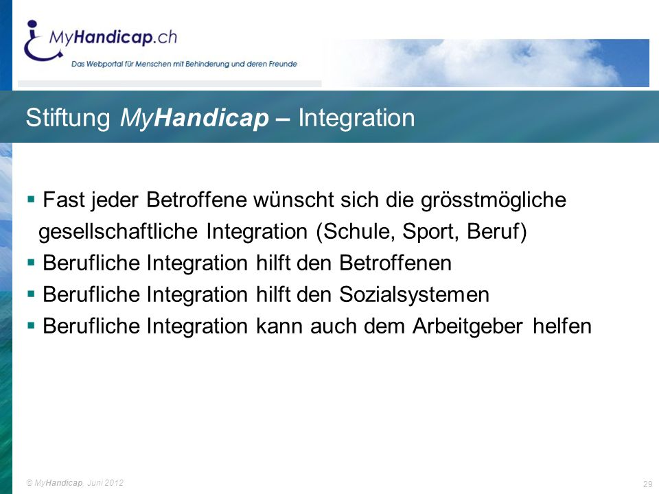 Stiftung MyHandicap – Integration