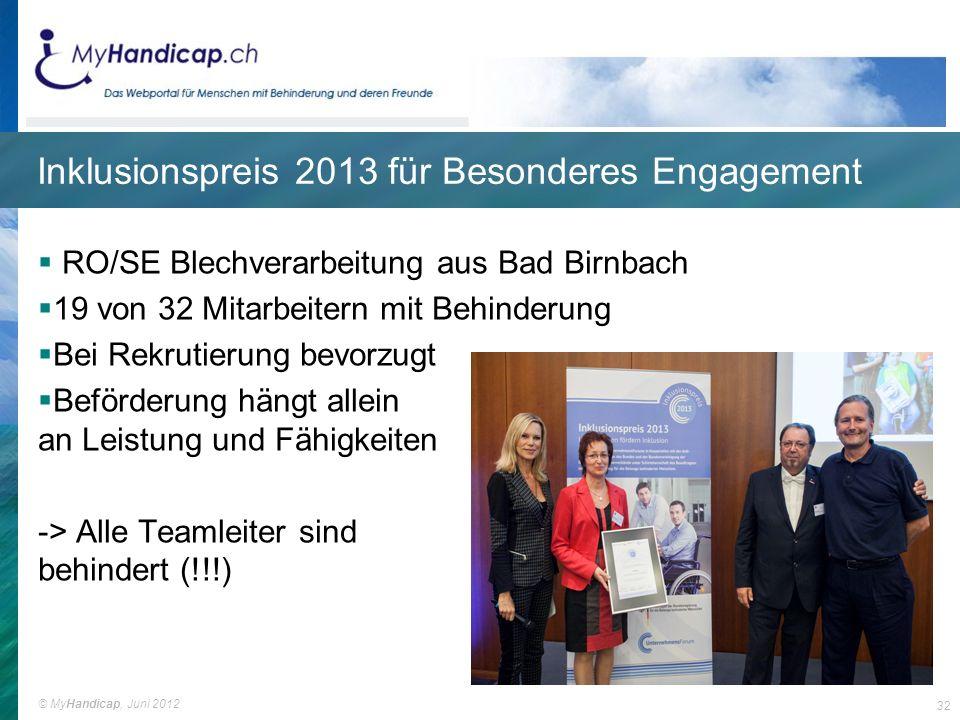 Inklusionspreis 2013 für Besonderes Engagement