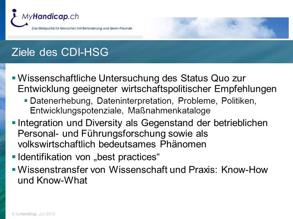 Ziele des CDI-HSG Wissenschaftliche Untersuchung des Status Quo zur Entwicklung geeigneter wirtschaftspolitischer Empfehlungen.