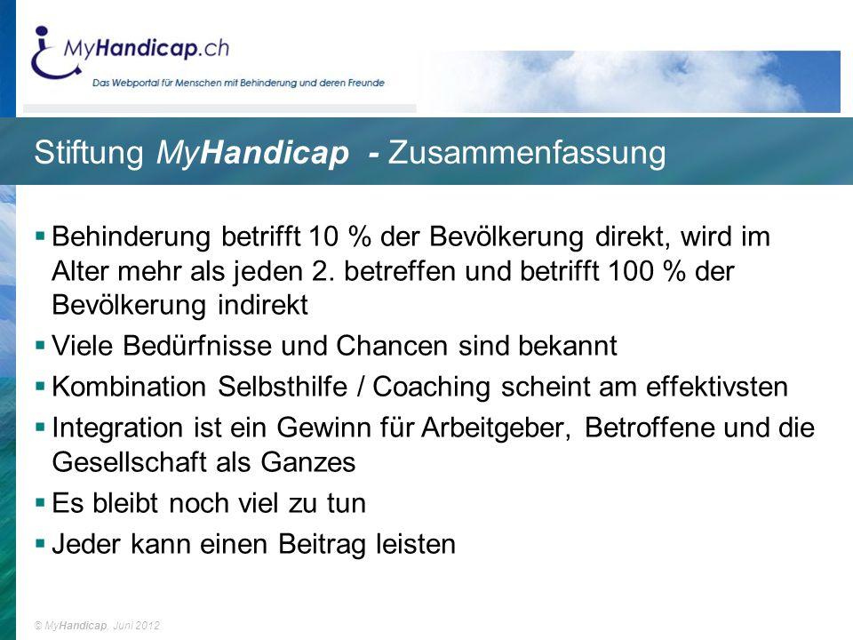 Stiftung MyHandicap - Zusammenfassung