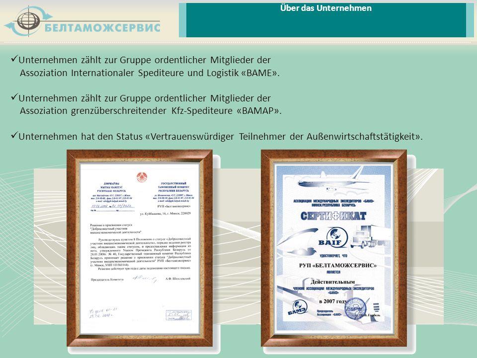 Über das Unternehmen Unternehmen zählt zur Gruppe ordentlicher Mitglieder der Assoziation Internationaler Spediteure und Logistik «BAME».
